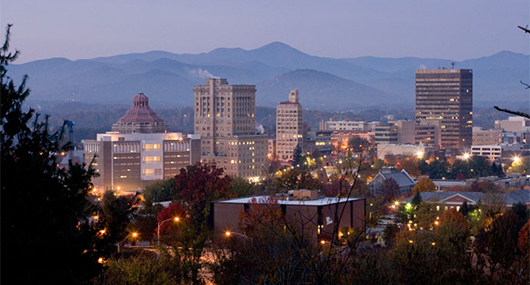 Asheville skyline at dusk