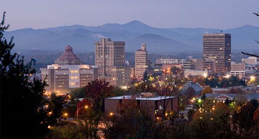 Asheville skyline at dusk